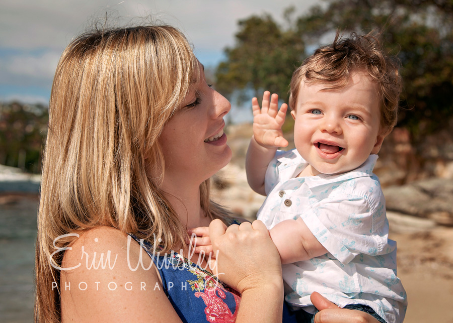 Family-Photography-Northern-Beaches-mother-and-boy-waving